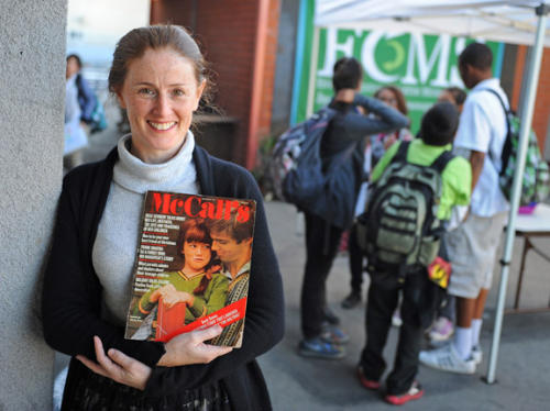 "ECMS Principal Kami Cotler was a child actor as ""Elizabeth"" on The Waltons in the early 1970's. Magazine shows her and John-Boy Walton. The Environmental Charter Middle School is in Inglewood. Photo by Brad Graverson"