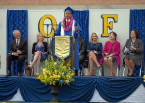 Valedictorian Kevin Qualls gives his speech. (Photo for the Daily Breeze by Axel Koester)